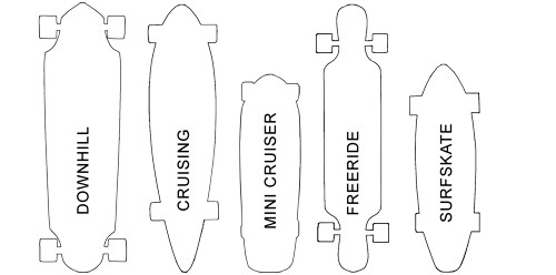 different shapes of longboards